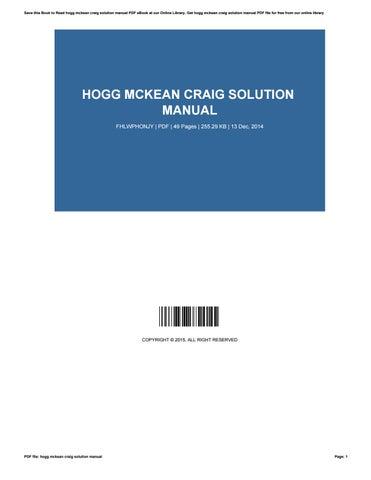 hogg mckean craig solution manual by barbiemartin1405 issuu rh issuu com Calculus Student Solutions Manual PDF Math Solution Manual