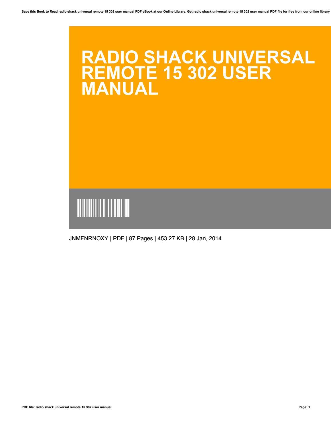 Radio shack universal remote 15 302 user manual by WilliamTerrazas1566 -  issuu