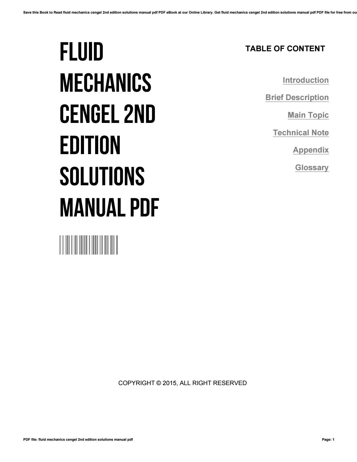 Fluid mechanics cengel 2nd edition solutions manual pdf by  DanielleLeone2975 - issuu