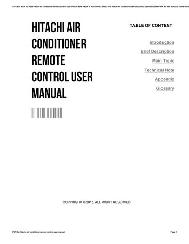 Hitachi Air Conditioner Remote Control User Manual By Keithgagne3829