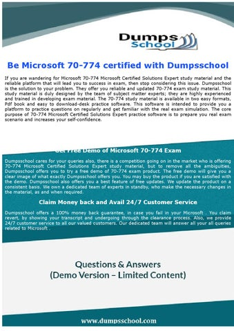 70-774 Microsoft Certified Solutions Expert Exam Questions