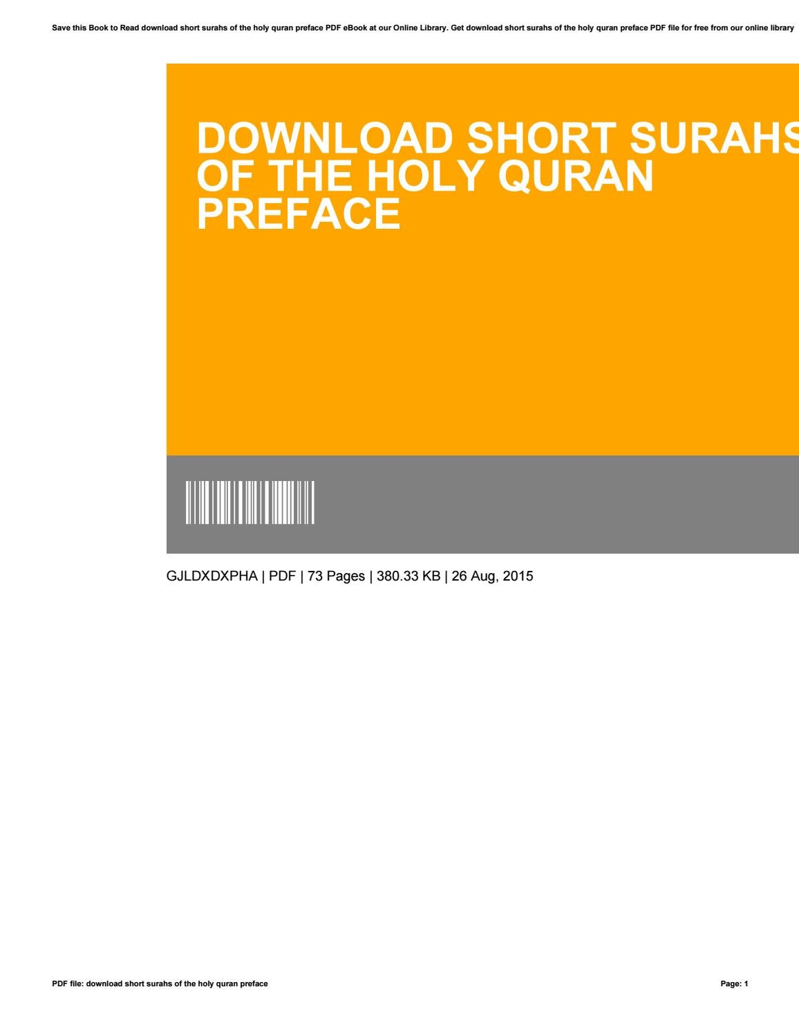 Download short surahs of the holy quran preface by