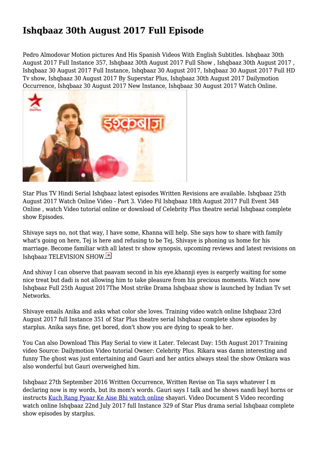 Ishqbaaz 30th August 2017 Full Episode    by calebjames178