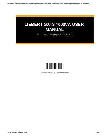 liebert gxt3 1000va user manual by andrewmurphy3354 issuu rh issuu com liebert gxt3 1000va user manual emerson liebert gxt3 user manual