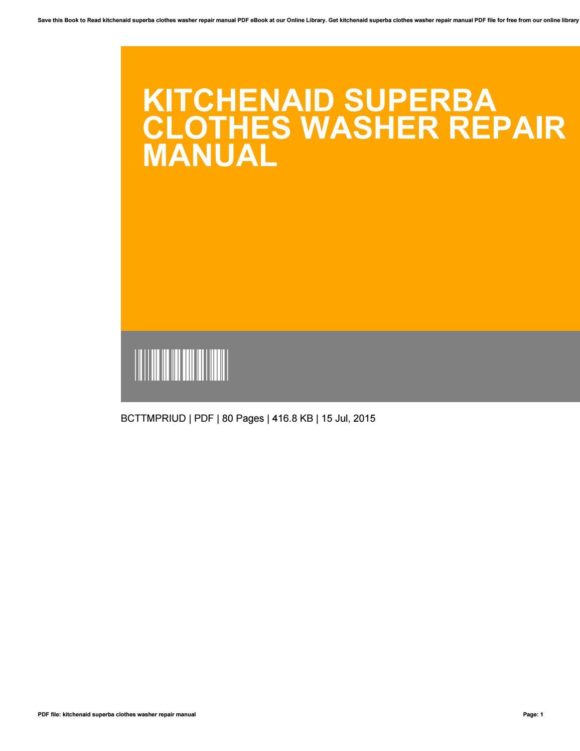 Kitchenaid Superba Clothes Washer Repair Manual By