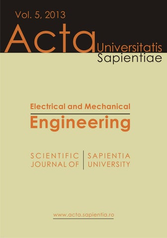 Electrical and Mechanical Engineering Vol  5, 2013 by Acta