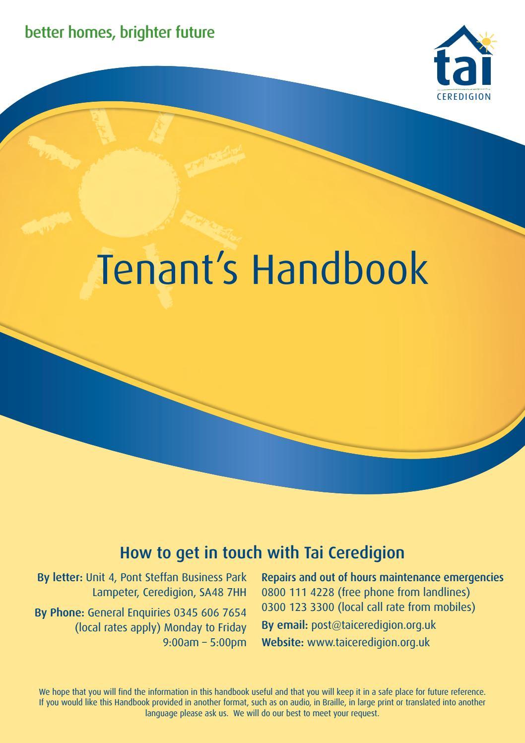 Tai Ceredigion Tenants Handbook By Tai Ceredigion Issuu
