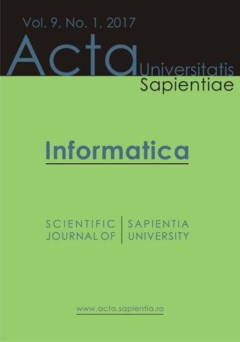 Informatica Vol  9, No  1, 2017 by Acta Universitatis Sapientiae - issuu