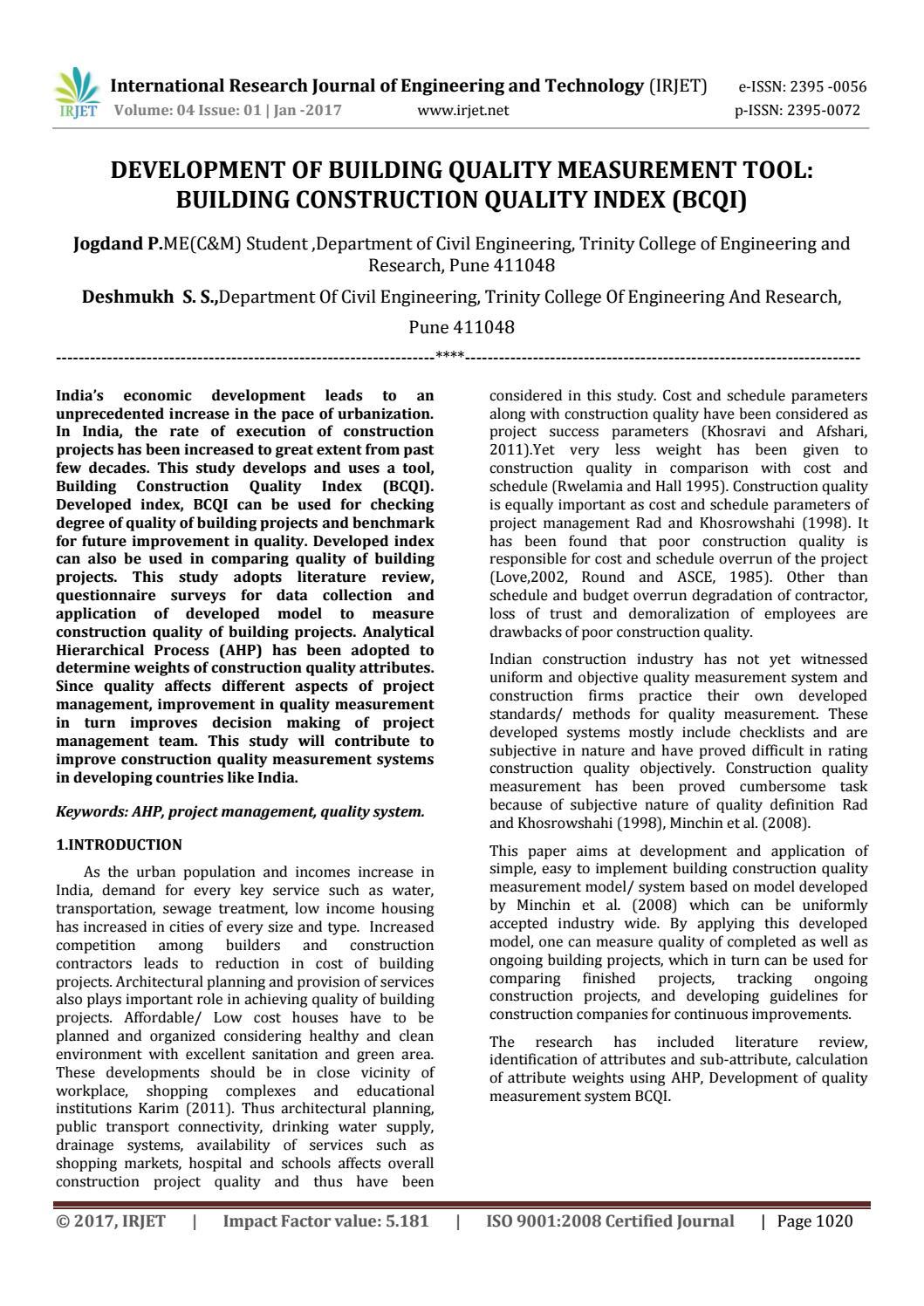 Development of Building Quality Measurement Tool: Building