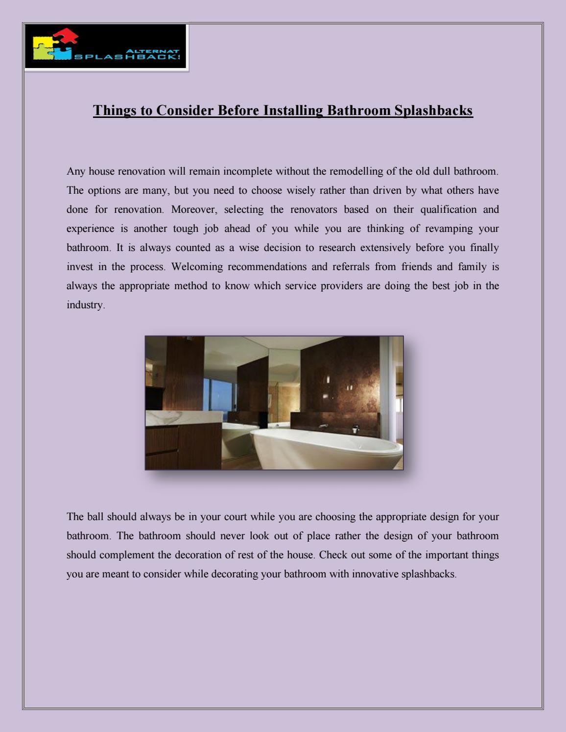 Bathroom Design Qualification things to consider before installing bathroom splashbacks