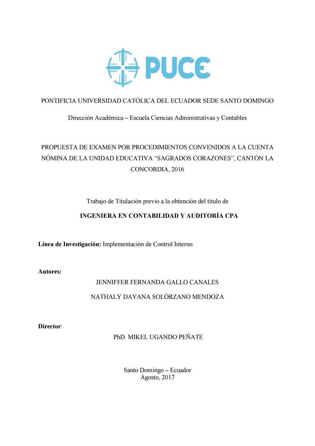 Propuesta De Examen Por Procedimientos Convenidos A La Cuenta Nomina De La Unidad Educativa By Pontificia Universidad Catolica Del Ecuador Sede Santo Domingo Puce Sd Issuu