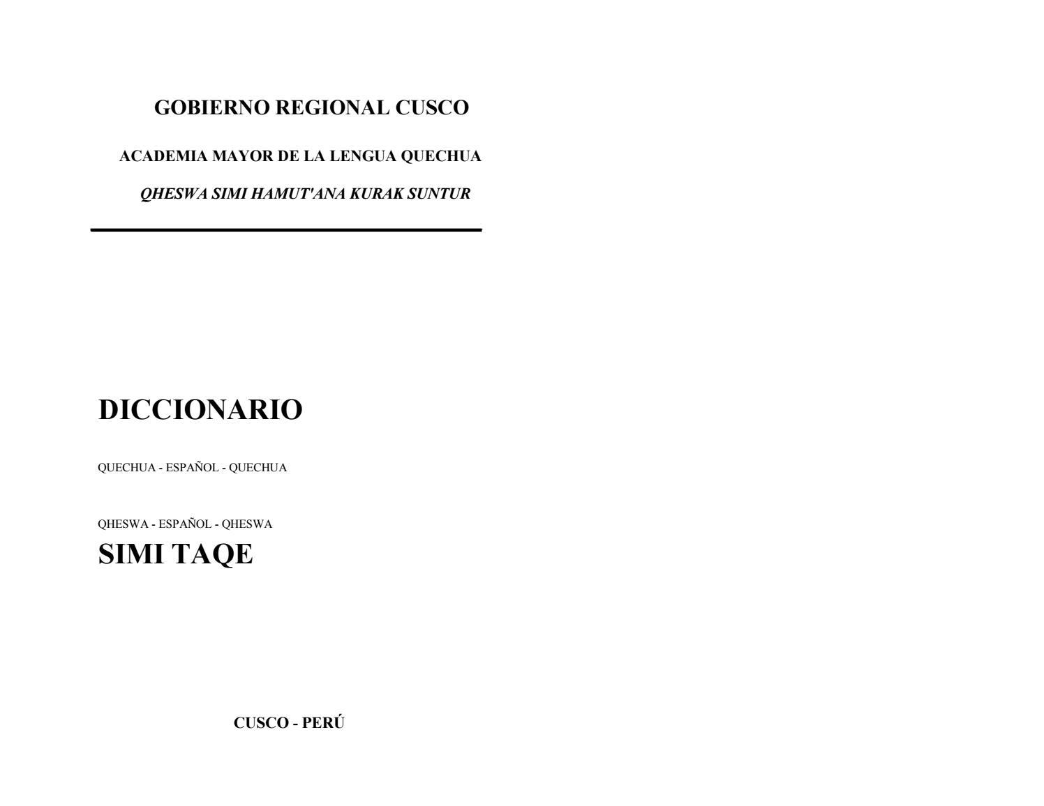 AMLQ Diccionario Quechua  Acad. Mayor de la Lengua Quechua by Victor Vera  Moyoli - issuu 39ae9851864