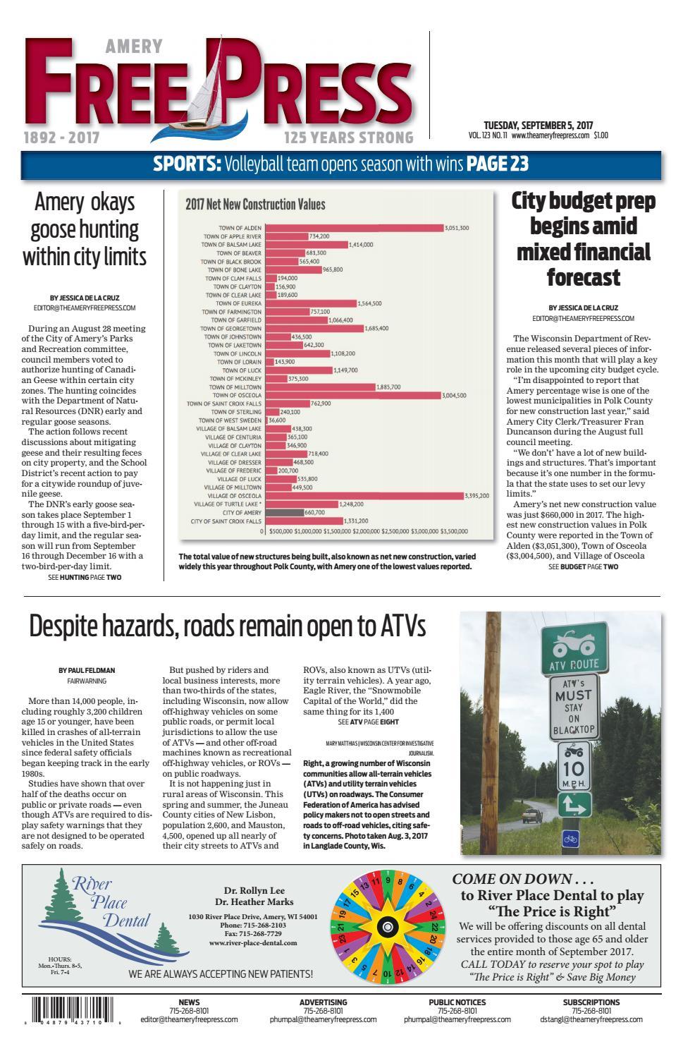 Afp 09 05 17 by Amery Free Press - issuu