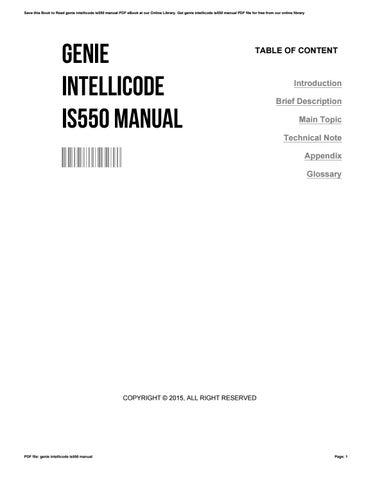 genie intellicode is550 manual by francineclinton27171 issuu rh issuu com genie intellicode is550/a manual genie intellicode 1s550 a manual