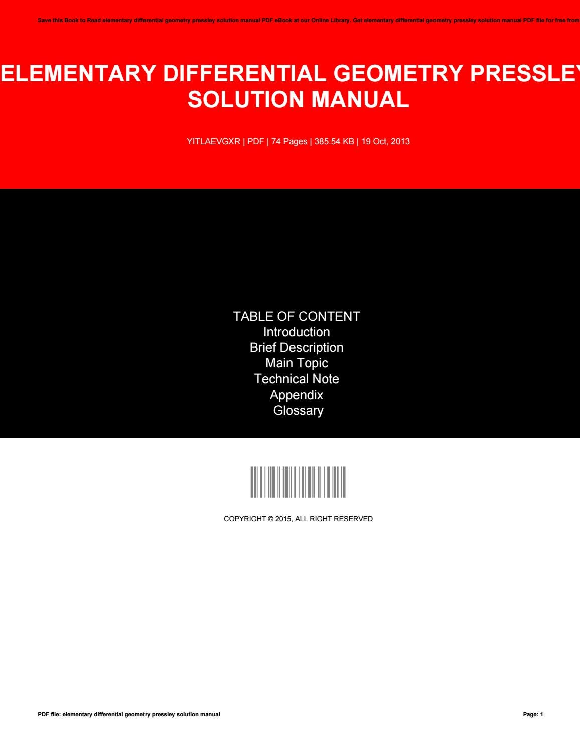 Elementary differential geometry pressley solution manual by  JoelBradshaw2583 - issuu