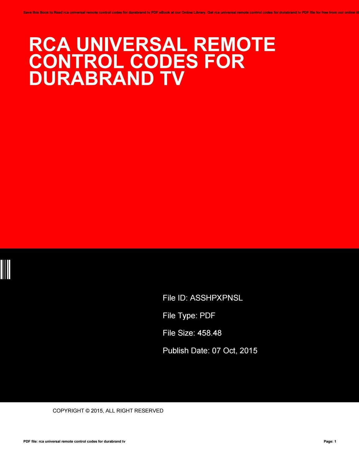 Rca universal remote control codes for durabrand tv by