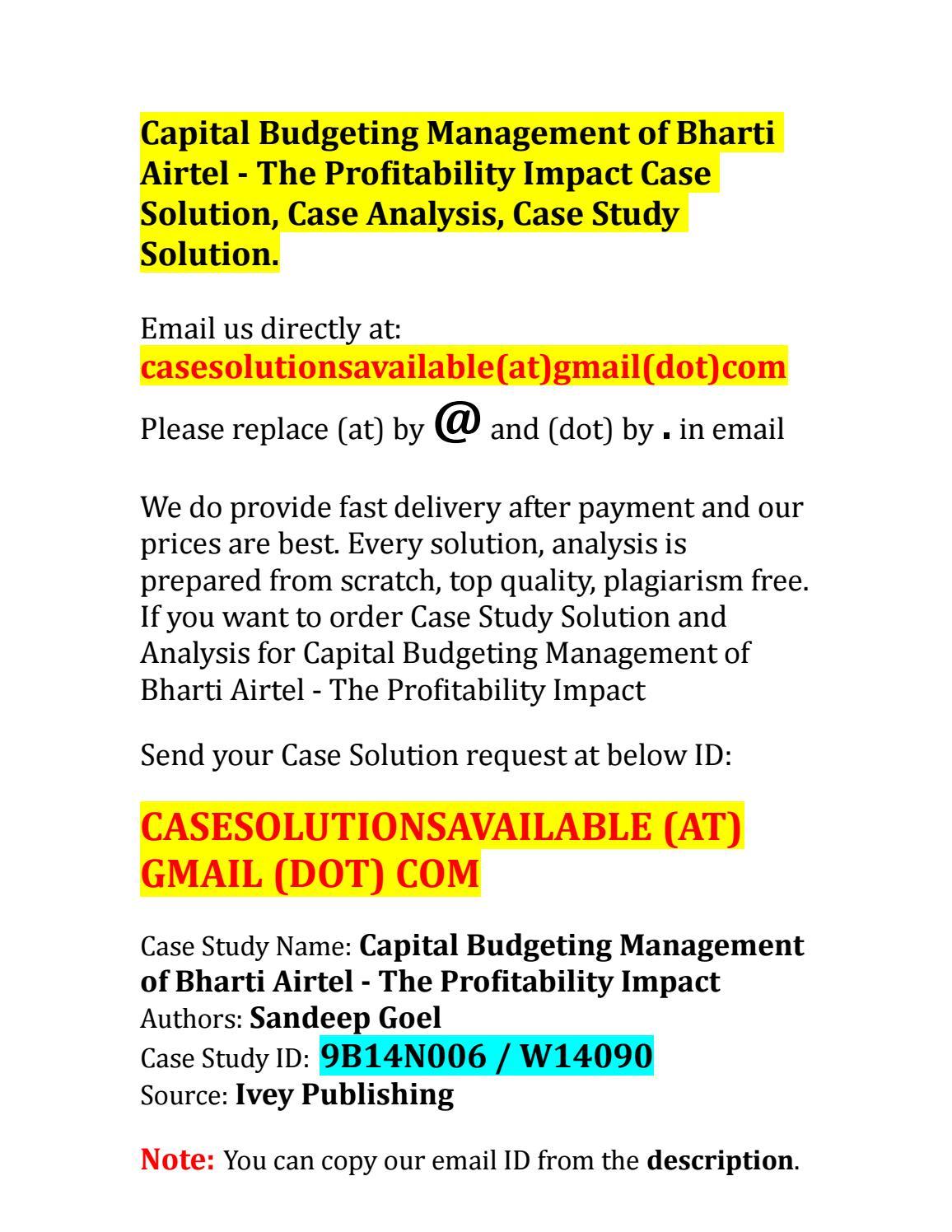 case study on budgeting pdf