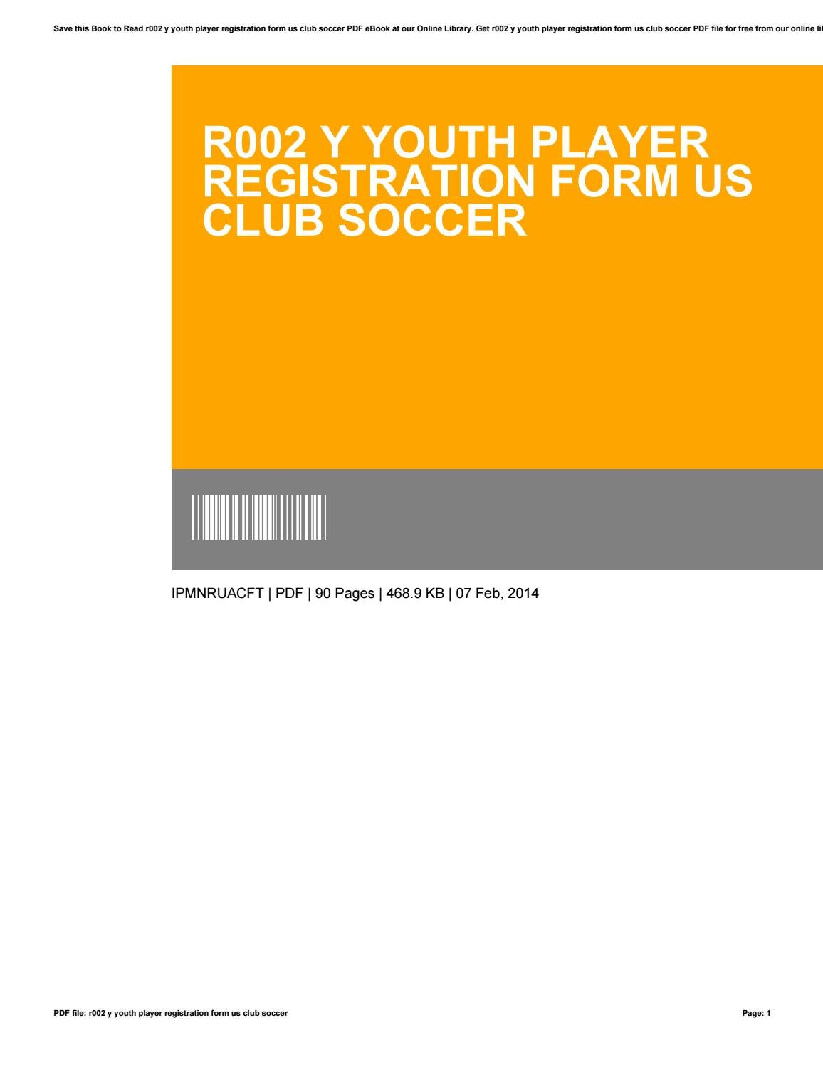 R002 y youth player registration form us club soccer by ...