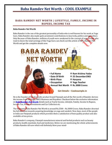 Baba ramdev net worth by Cool Example - issuu