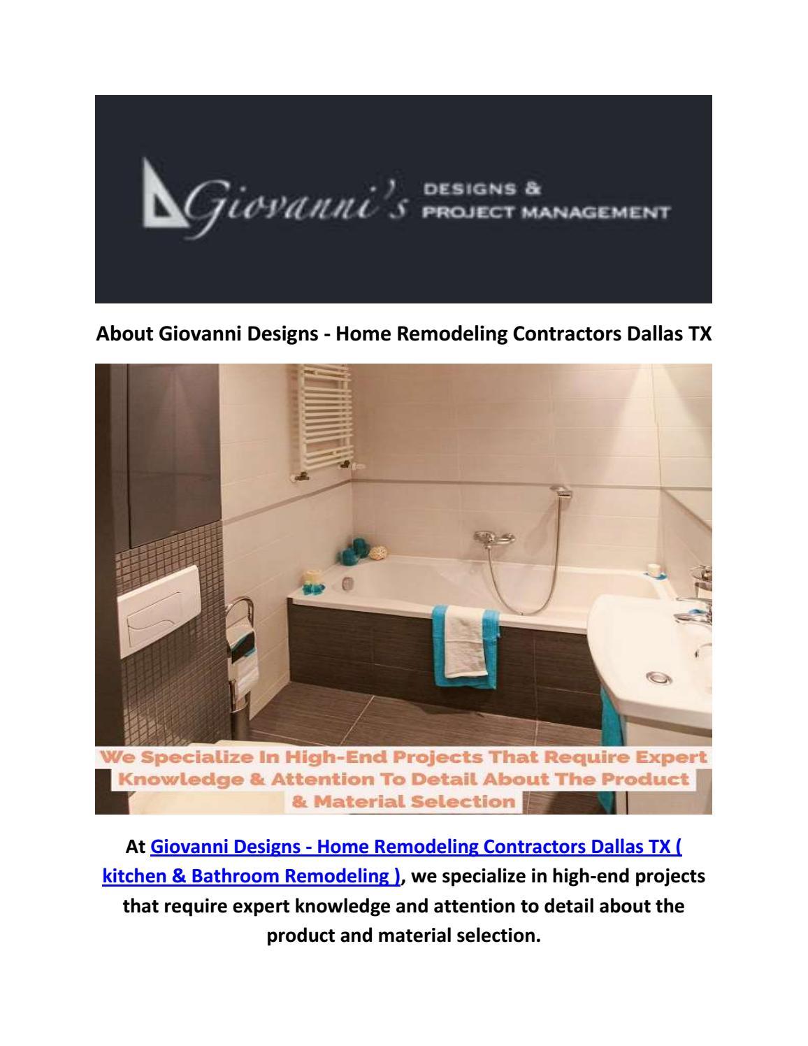 Giovanni Designs Bathroom Remodel In Dallas Tx By Giovanni Designs Home Remodeling Contractors Dallas Tx Kitchen Bathroom Remodeling Issuu