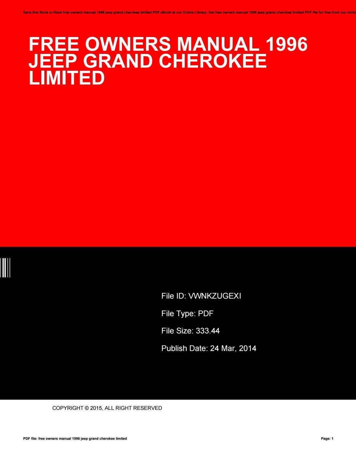 Free owners manual 1996 jeep grand cherokee limited by CynthiaLewis2154 -  issuu