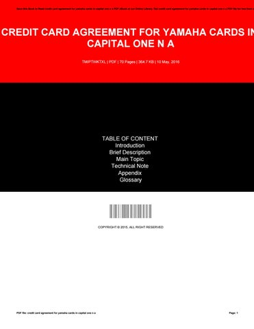 Save This Book To Read Credit Card Agreement For Yamaha Cards In Capital One N A PDF EBook At Our Online Library Get