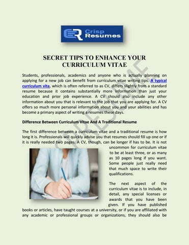 secret tips to enhance your curriculum vitae students professionals academics and anyone who is actually planning on applying for a new job can benefit - Typical Curriculum Vitae