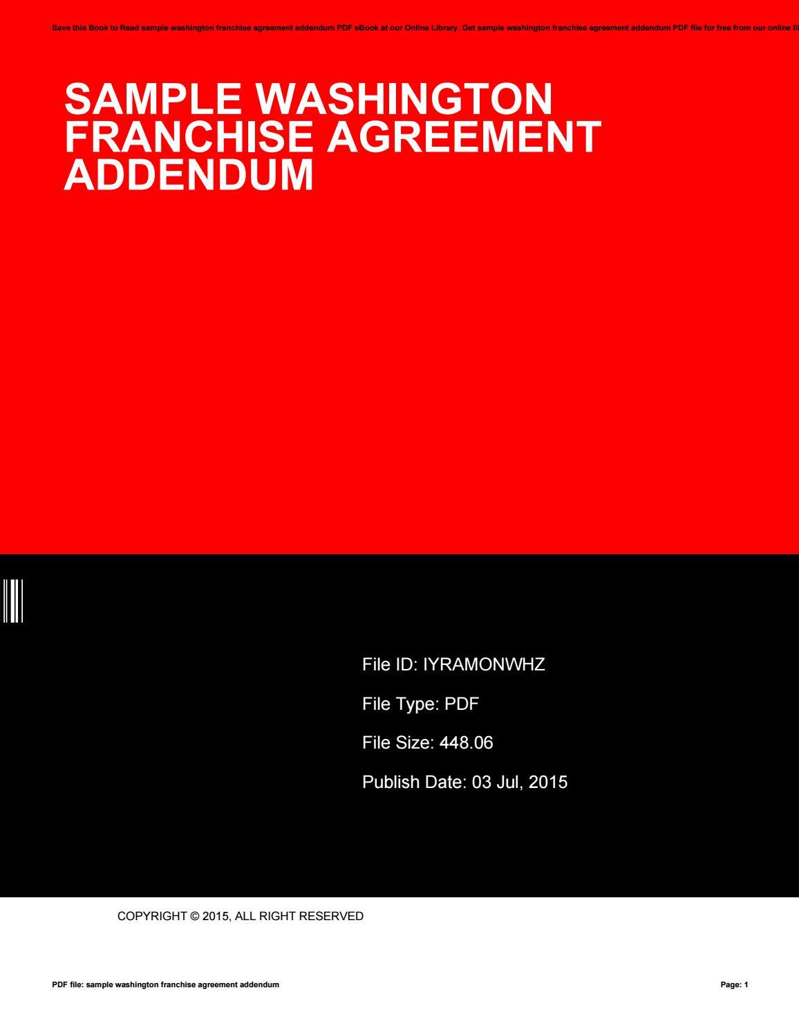 Sample Washington Franchise Agreement Addendum By Shirleykincade4437