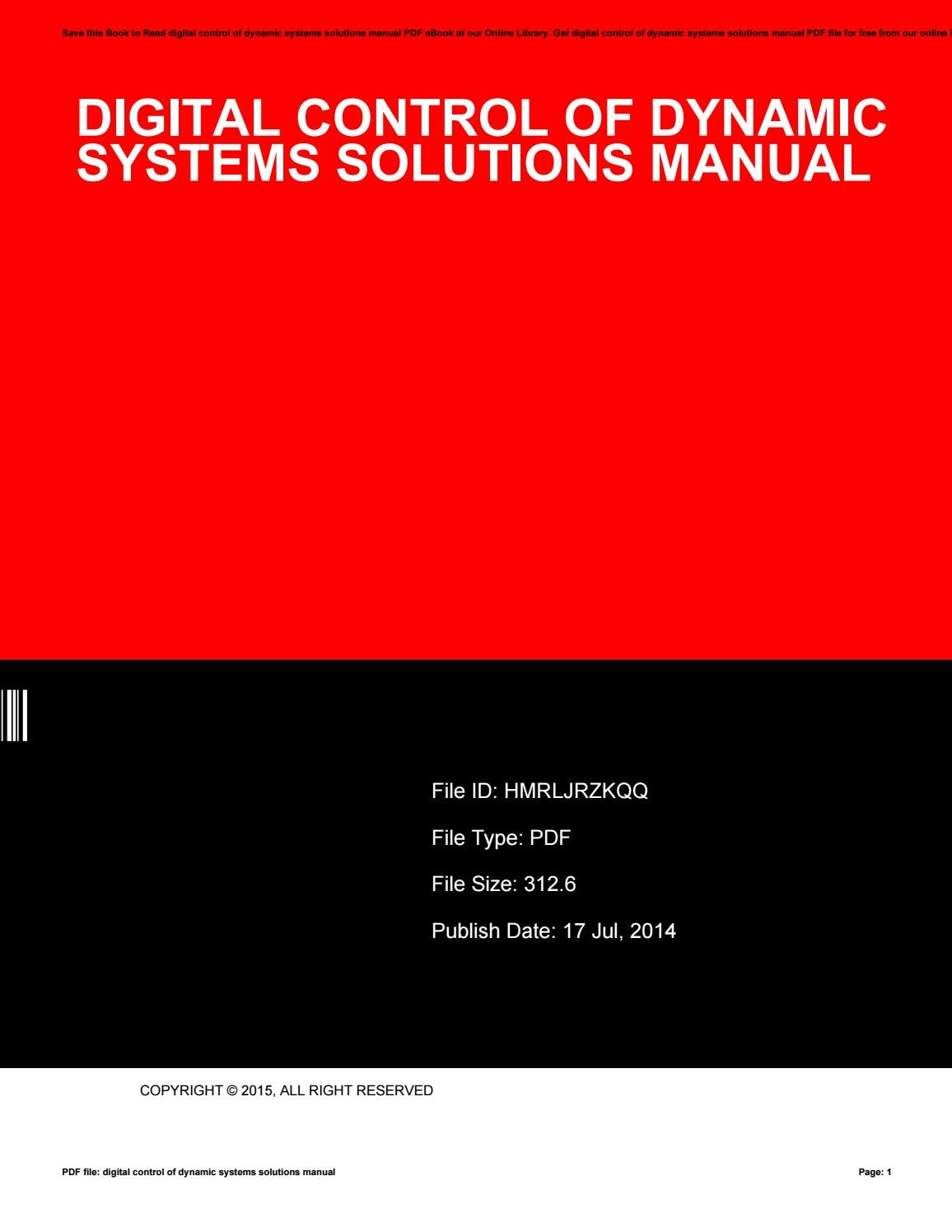 Digital control of dynamic systems solutions manual by PeterCallahan49651 -  issuu