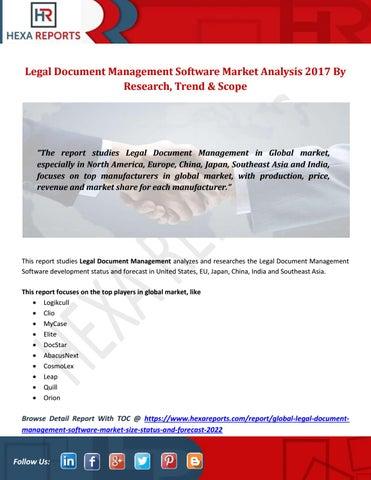 Legal Document Management Software Market Analysis By Research - Legal document software