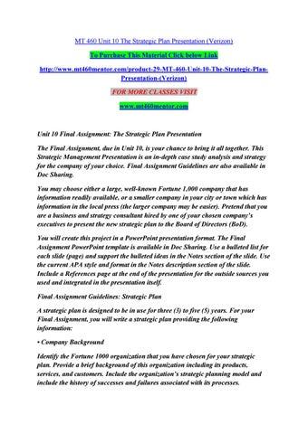 mt 460 unit 10 the strategic plan presentation verizon by singht