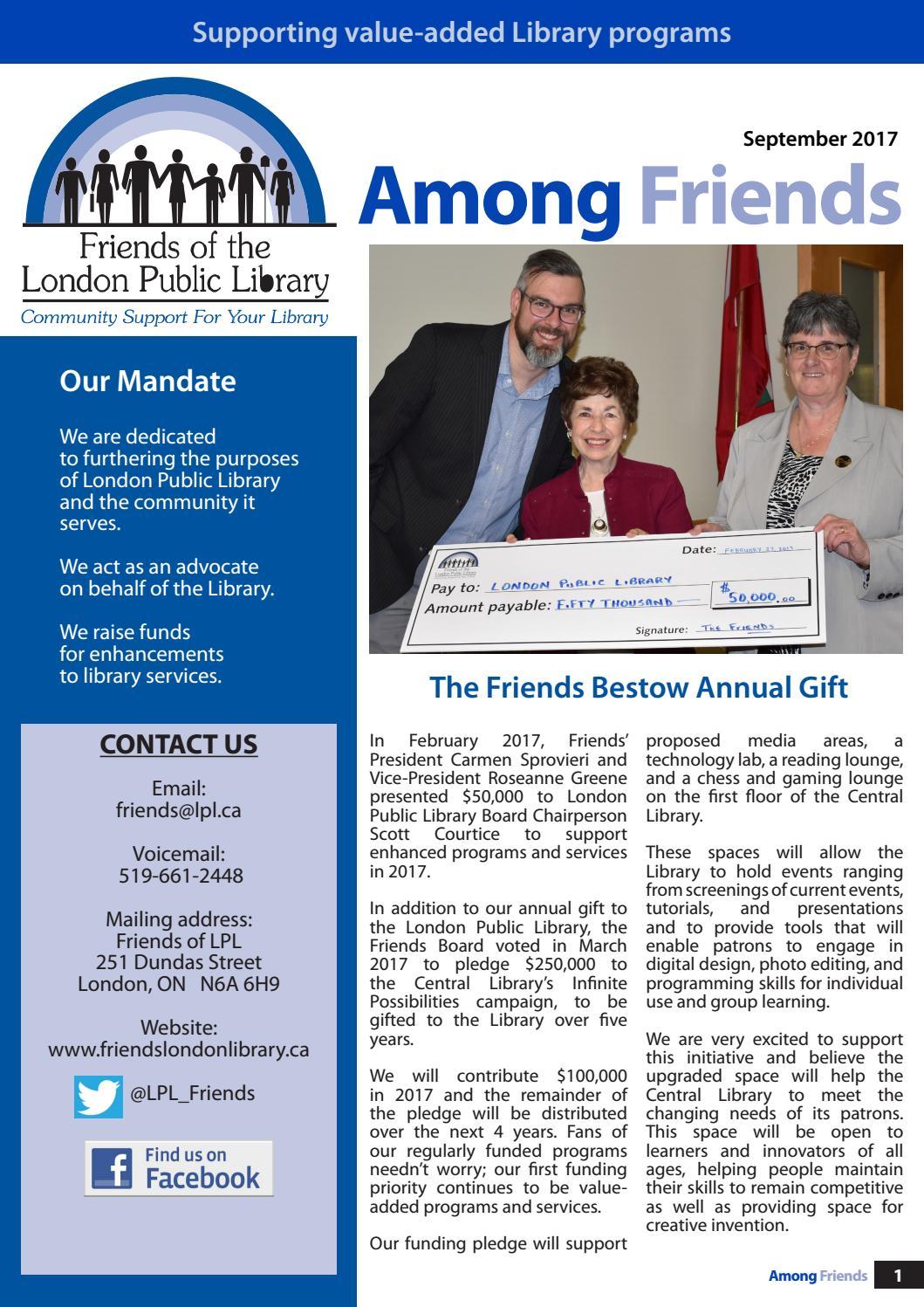 LPL Friends September 2017 newsletter by Friends of the