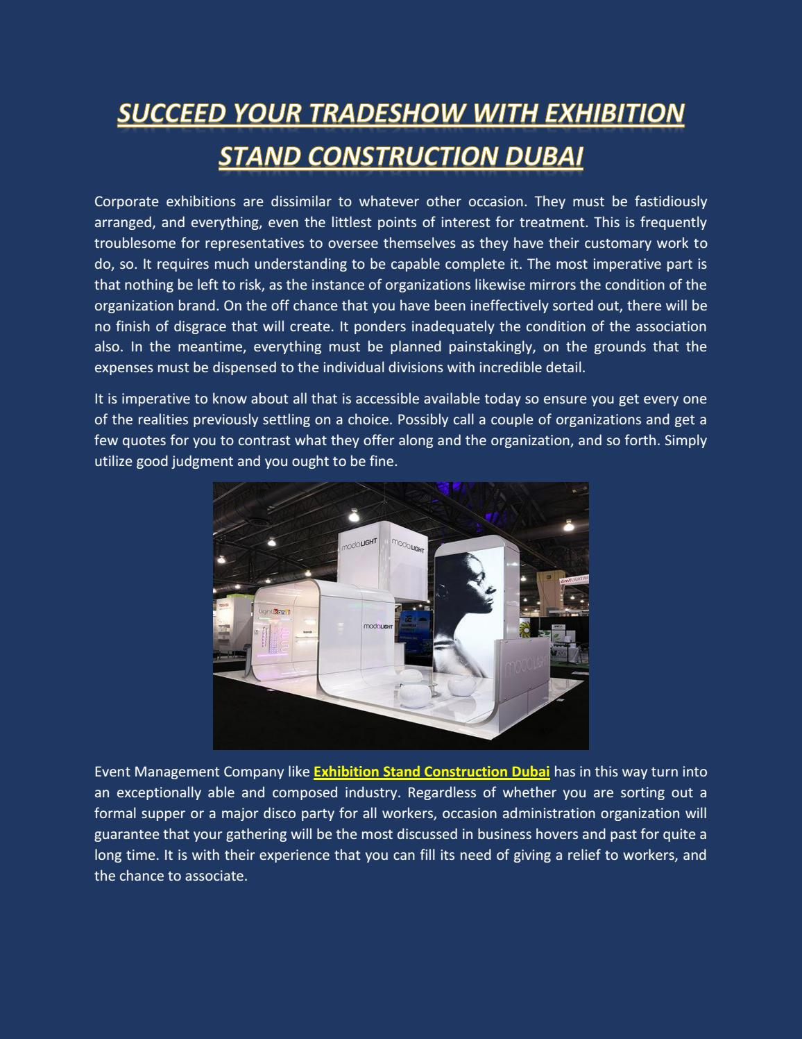 Succeed your tradeshow with exhibition stand construction dubai