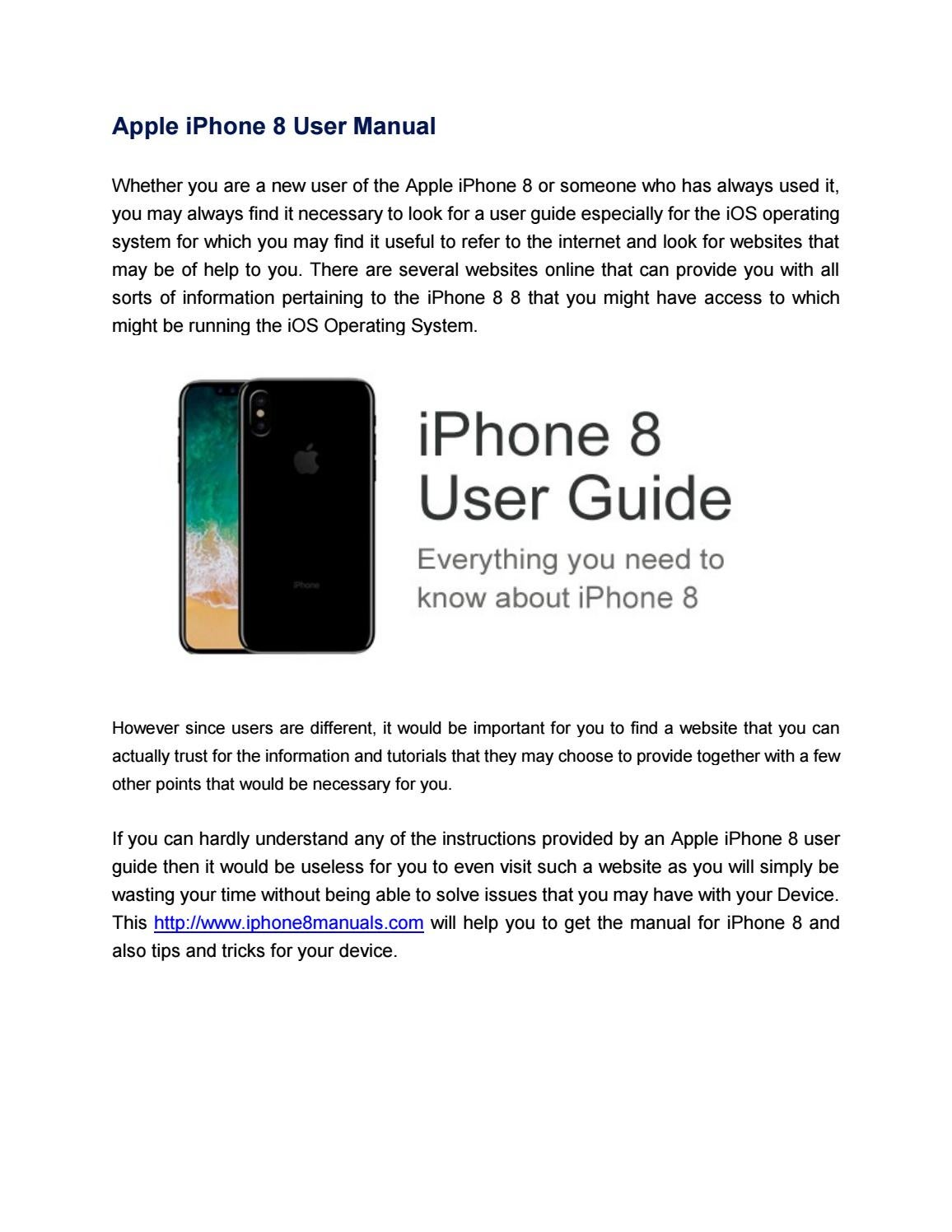 Apple Iphone 8 User Manual By Annette Fagan Manual Guide