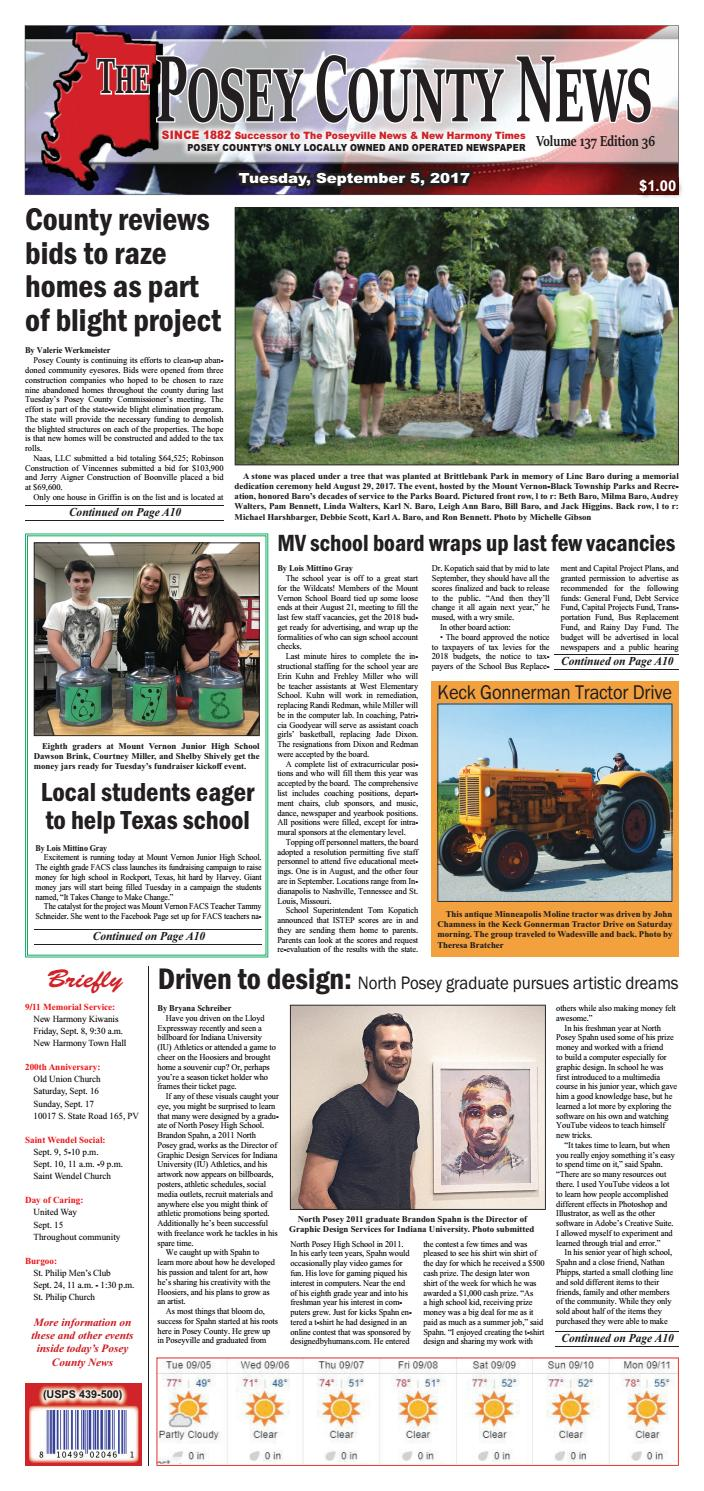 September 5, 2017 - The Posey County News by The Posey County News - issuu