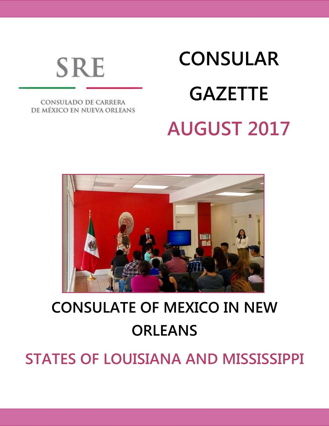 Consular Gazette August 2017, Consulate of Mexico in New Orleans by ...