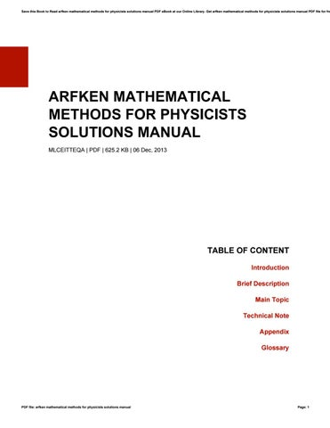 Mathematical Methods For Physicists Arfken 6th Edition Pdf