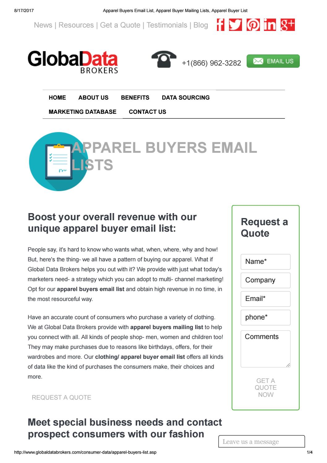 Get unique apparel buyers email list by Cara Lee - issuu