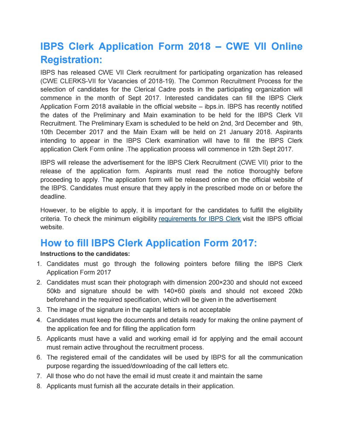 online form for ibps clerk 2018
