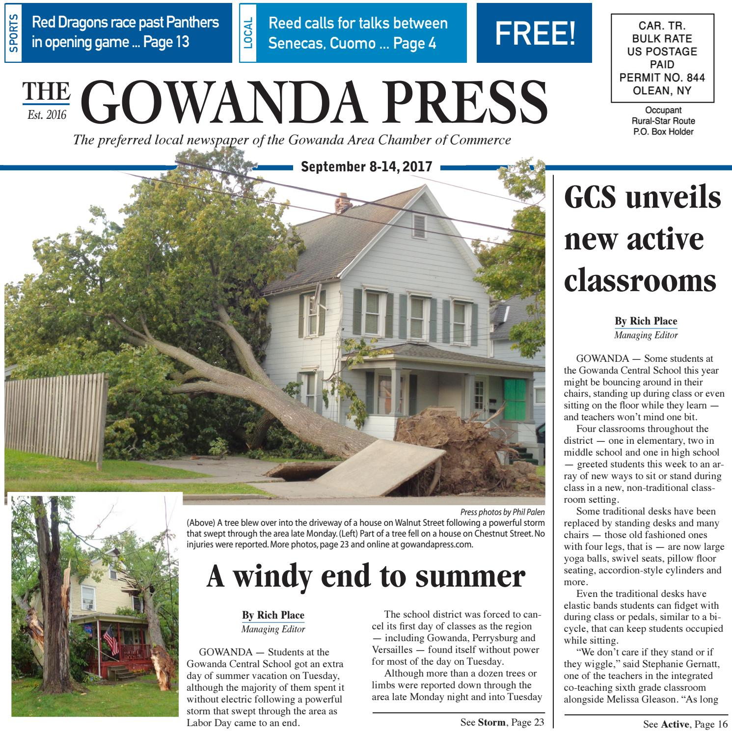 Gowanda Press Sept 8 2017 Edition By Bradford Publishing