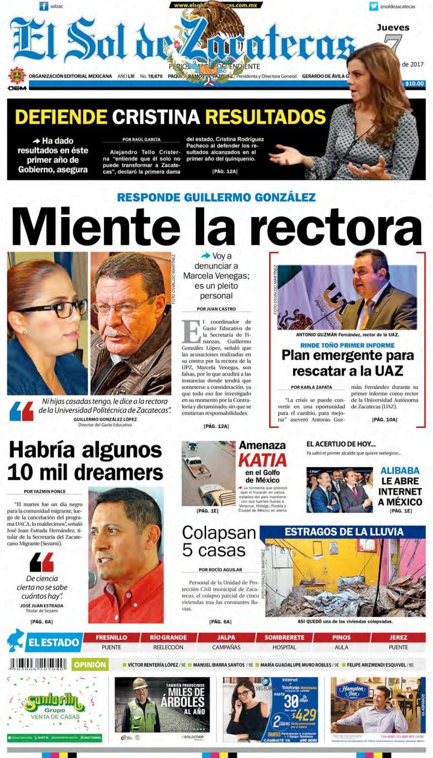 El Sol De Zacatecas 7 De Septiembre 2017 By El Sol De Zacatecas  # Cota Muebles Teziutlan