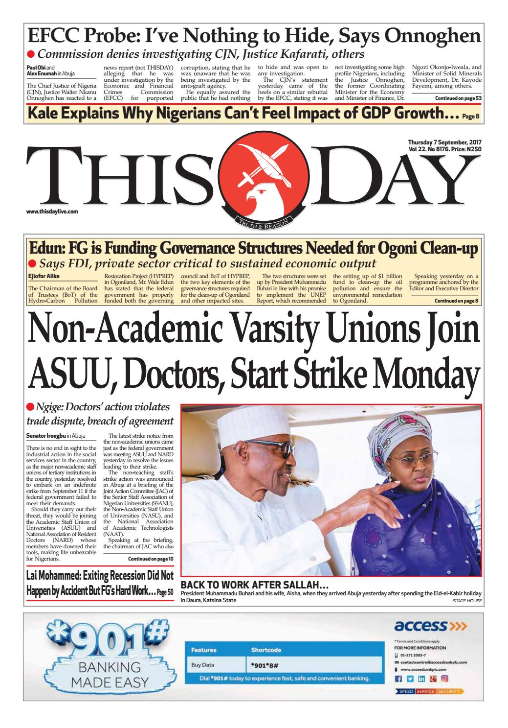 Thursday 7th September 2017 By Thisday Newspapers Ltd Issuu