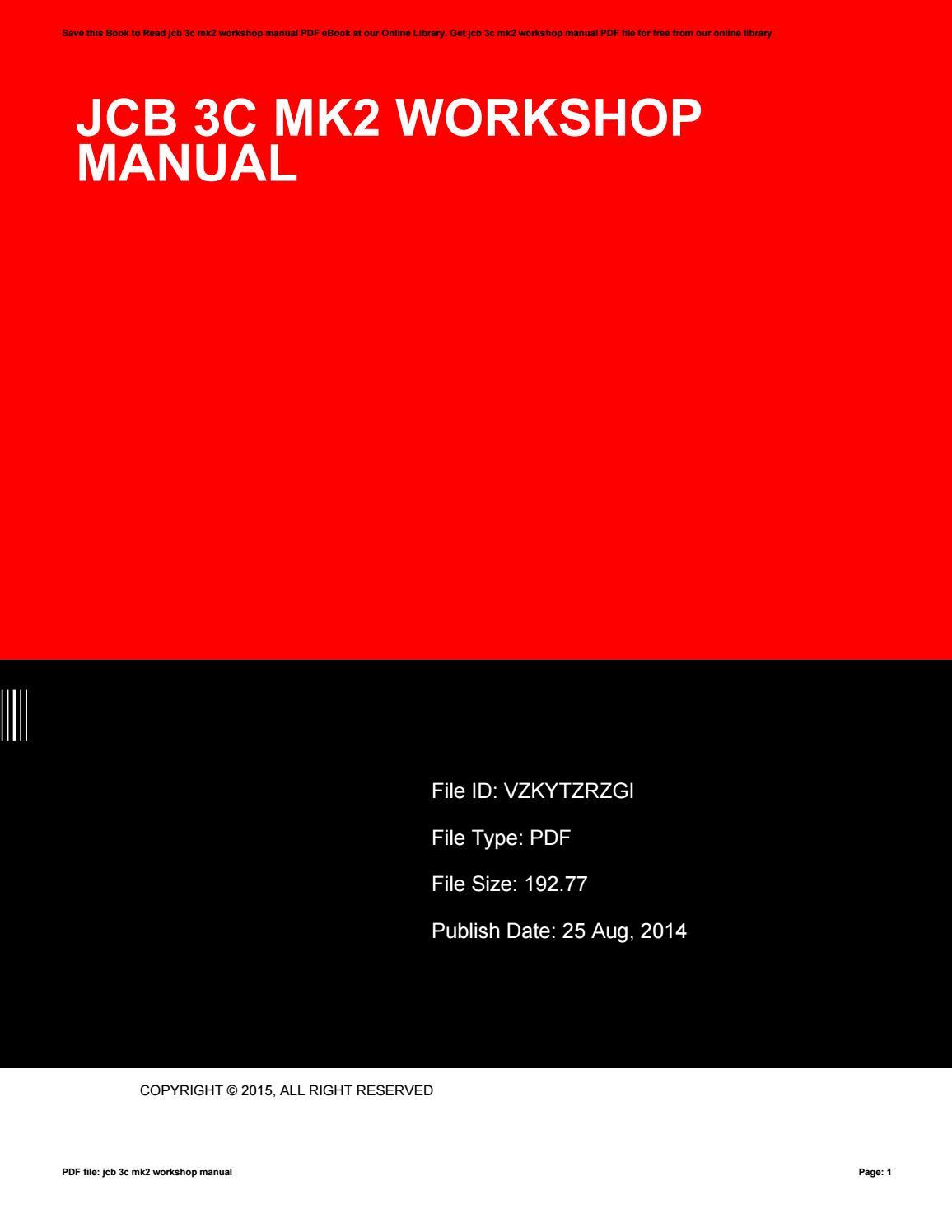Jcb 3c 111 Manual Workshop manual pdf