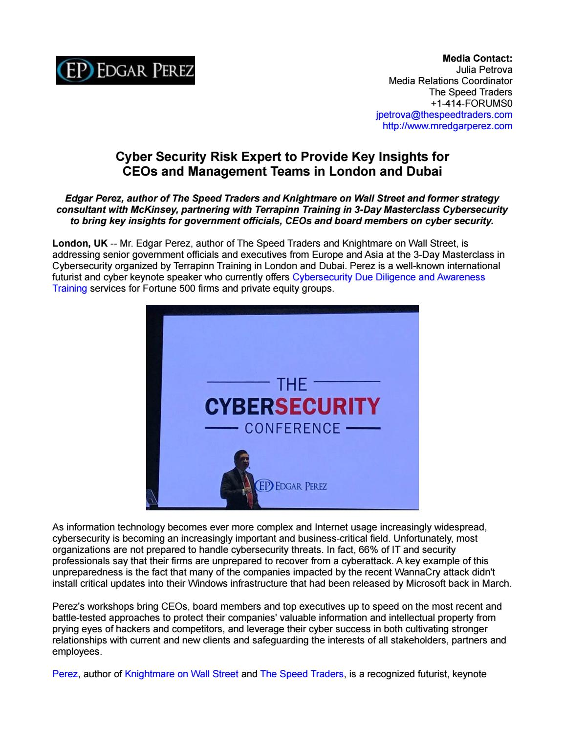 Cyber Security Risk Expert to Provide Key Insights for CEOs