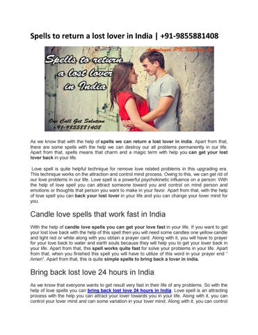 Spells to return a lost lover in India   +91-9855881408 by