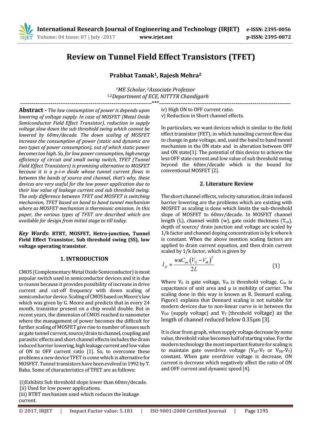 Review On Tunnel Field Effect Transistors Tfet By Irjet Journal How Do I Keep My Constant Current Source Issuu