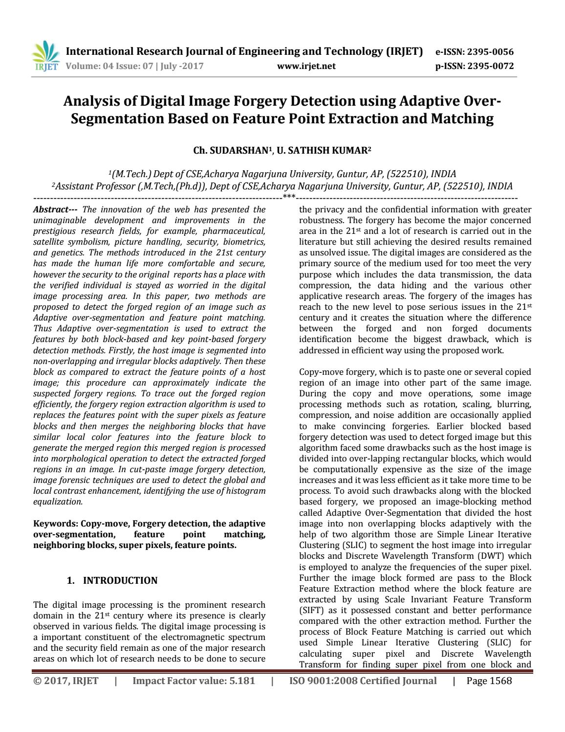 Analysis of Digital Image Forgery Detection using Adaptive  Over-Segmentation Based on Feature Point