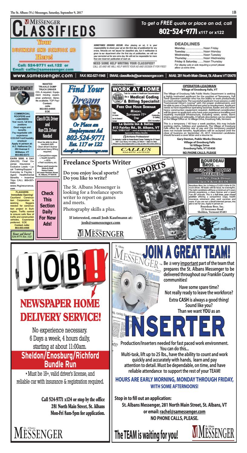09/09/2017 Classifieds by St  Albans Messenger - issuu