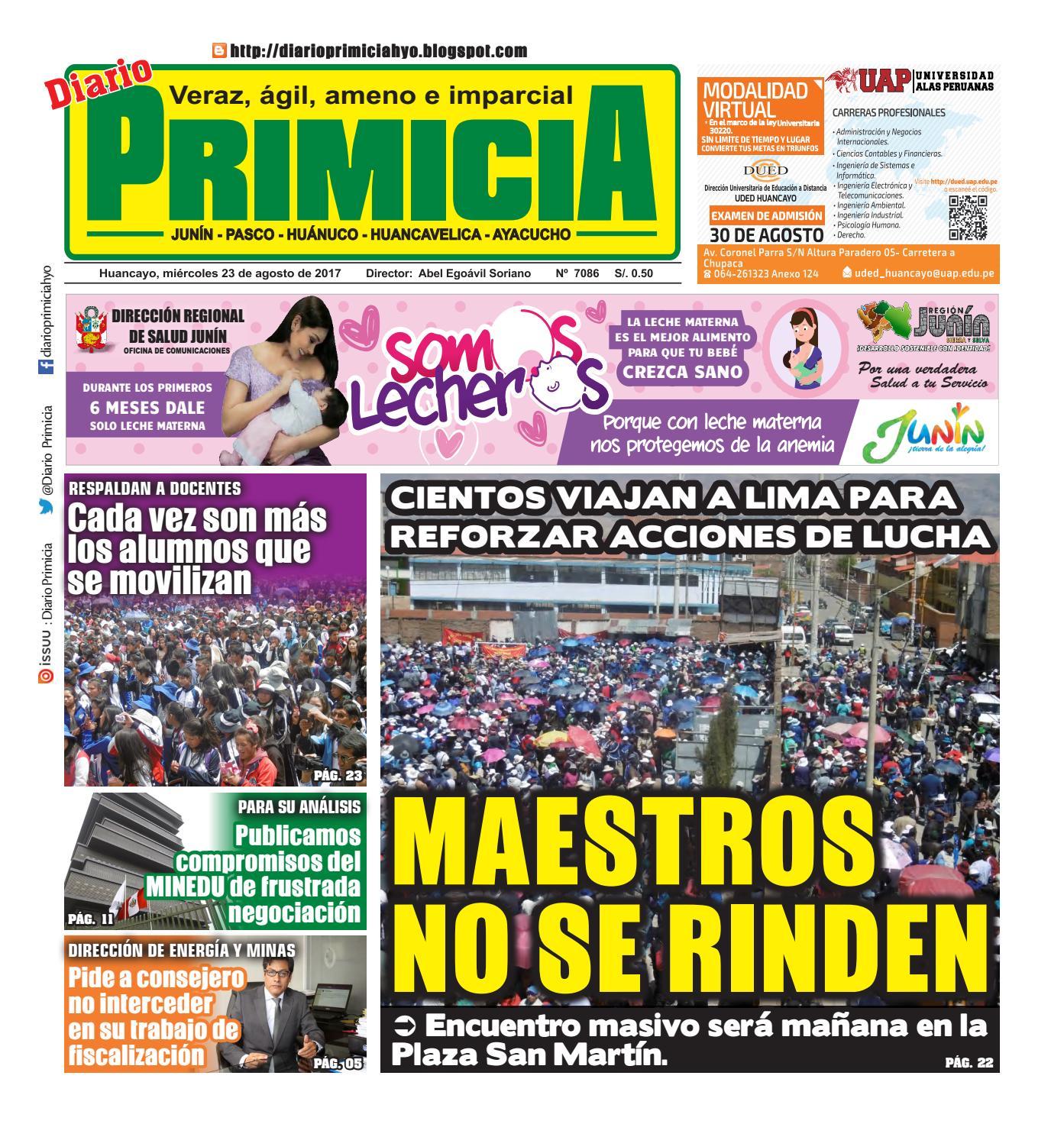 Diario Primicia Huancayo 23/08/17 by Diario PRIMICIA - issuu