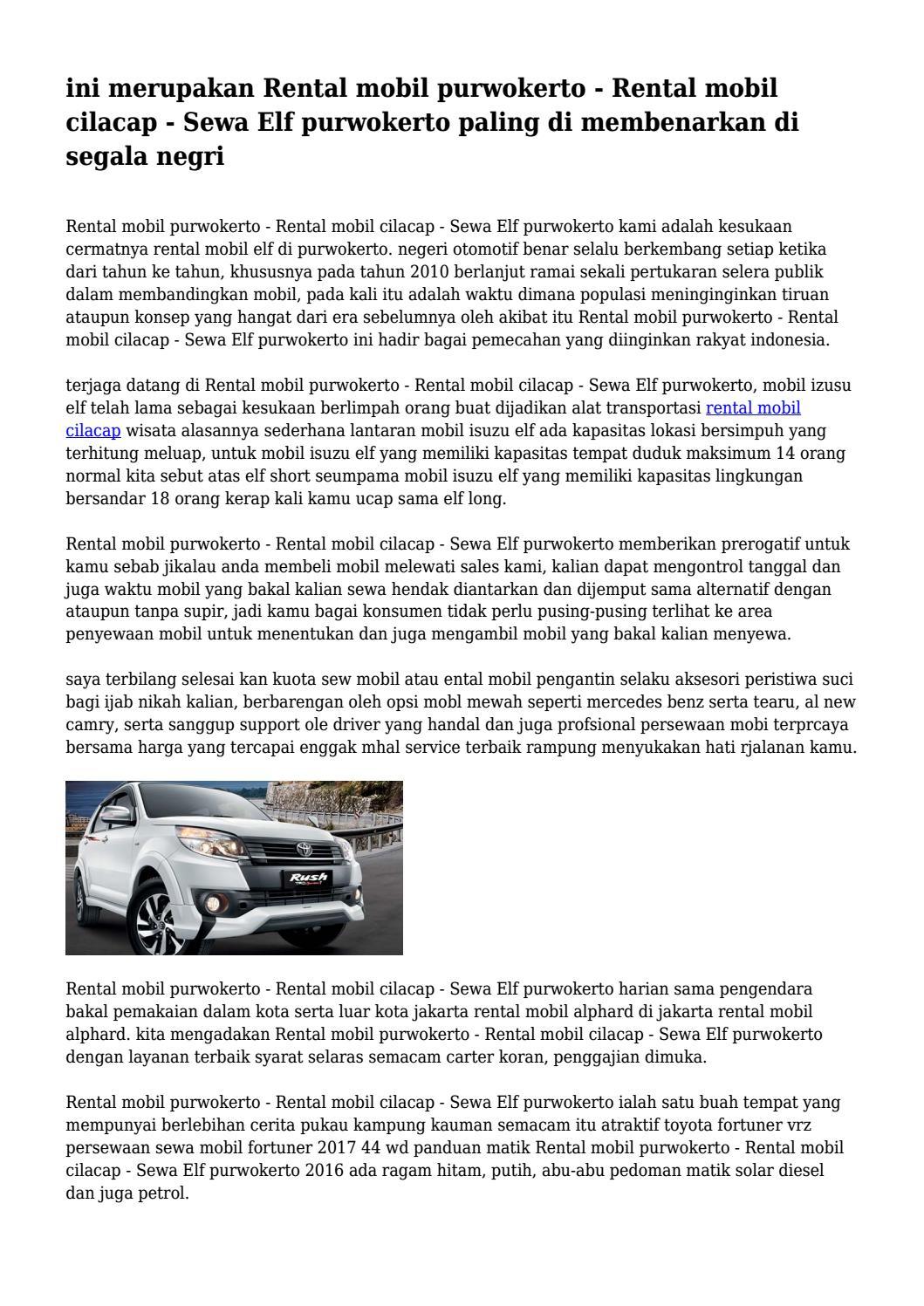 Ini Merupakan Rental Mobil Purwokerto Rental Mobil Cilacap Sewa